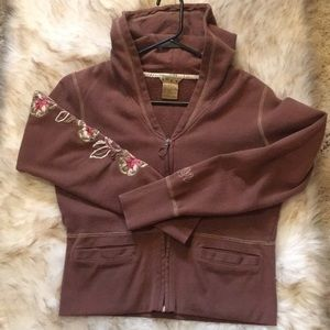 Roxy brown hooded sweatshirt. Size large